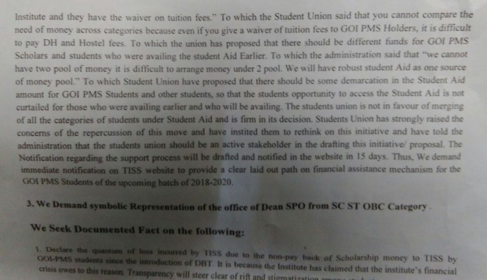 charter of demand by TISS student union - 3