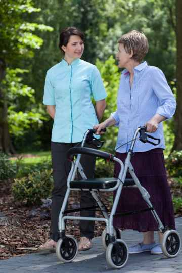 old lady using rollator with seat