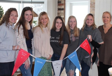 From the left: the Movers and Shakers team, which is raising money for the Leukemia and Lymphoma Soci-ety, includes Kaeleigh Runnels, Kloie Potts, Emma Jacobson (team leader), Abby Cook, Paige Jacobs, Madalyn Reichert and Judy Jacobson. Not pictured are team members Rebecca Terpstra and Hannah Heggernes. (Heather Ruenz photo)