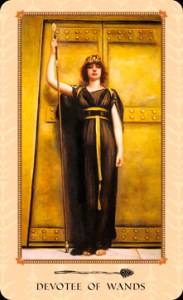 The Page of Wands is renamed The Devotee of Wands in the Tarot of the Delphi.