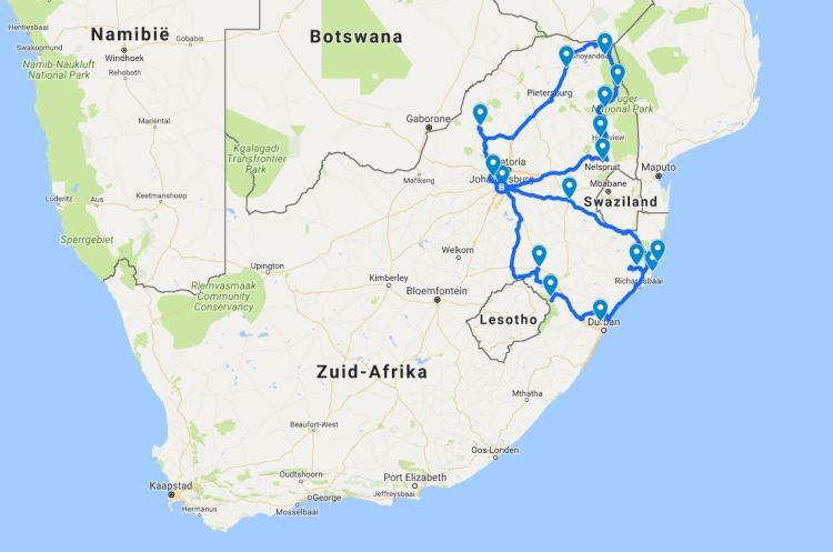 Route Zuid Afrika