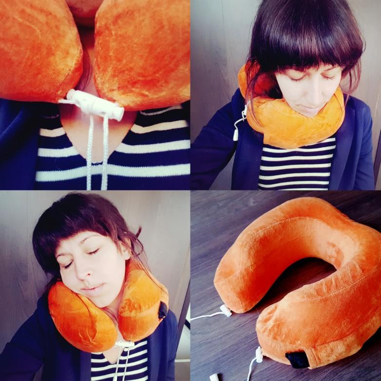Nekkkussen slapen in het vliegtuig