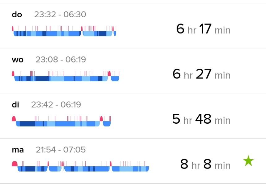 Fitbit data slapen overzicht