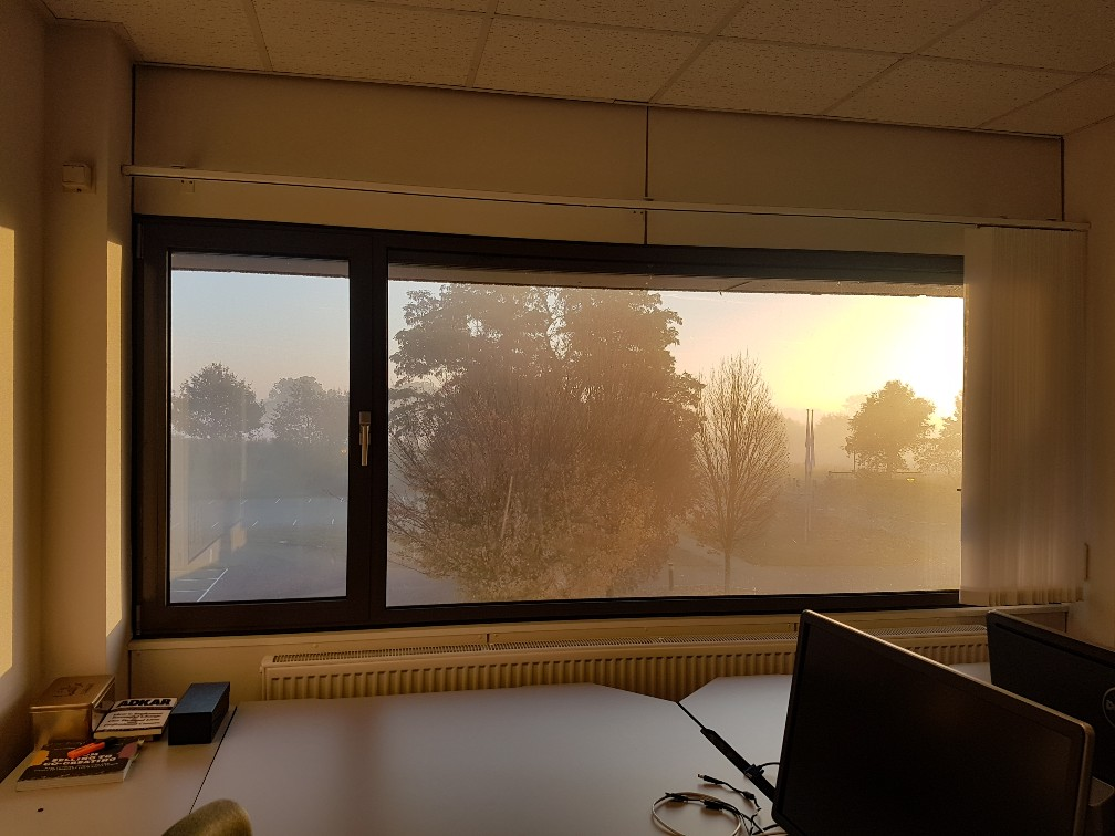 Uitzicht boxmeer kantoor zonsopkomst