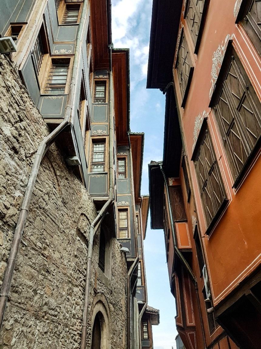 Oude huizen centrum Plovdiv Bulgarije