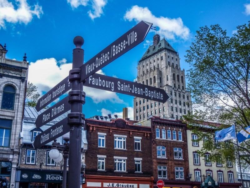 old quebec city sign