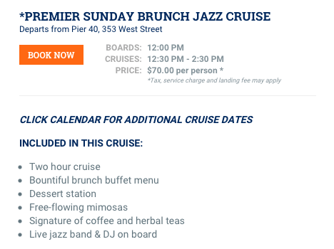 Premier Sunday Brunch Jazz Cruise