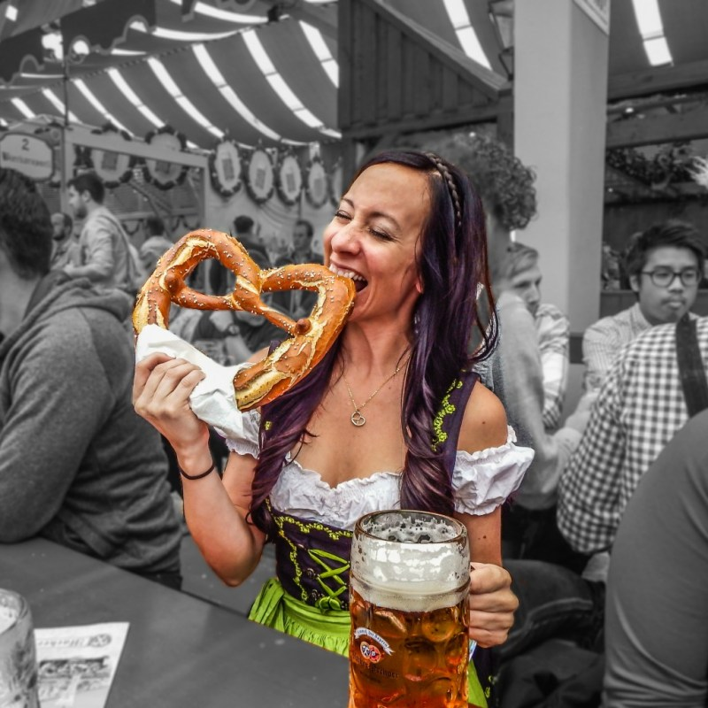 oktoberfest munich germany eat pretzel beer