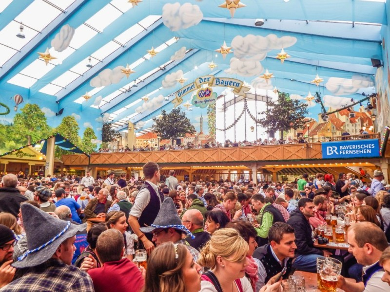 Hacker Pschorr beer tent at oktoberfest in Munich Germany