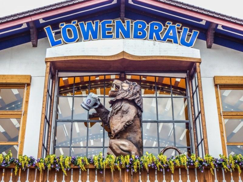 lowenbrau beer tent lion at oktoberfest in munich germany