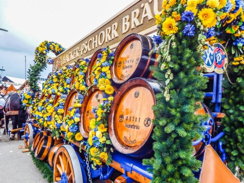 munich oktoberfest hacker pschorr beer barrels
