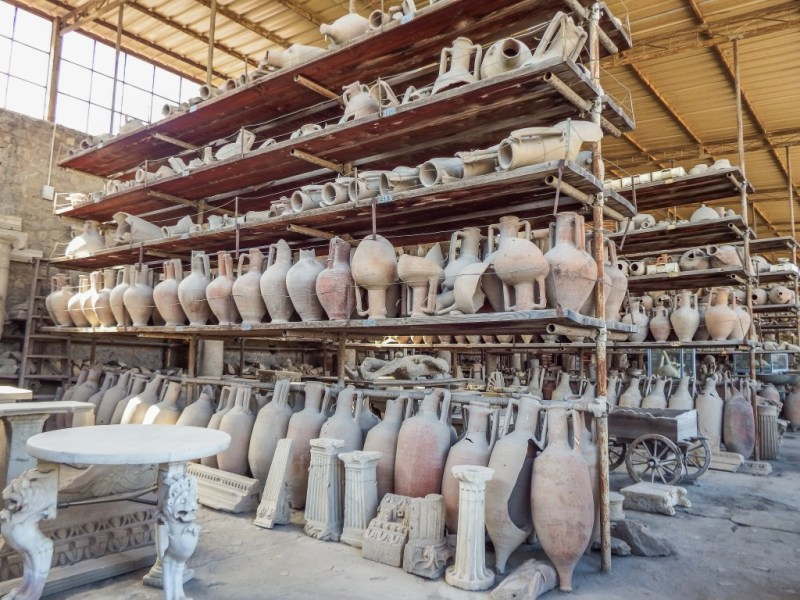The ruins and artifacts of Pompeii in southern Italy