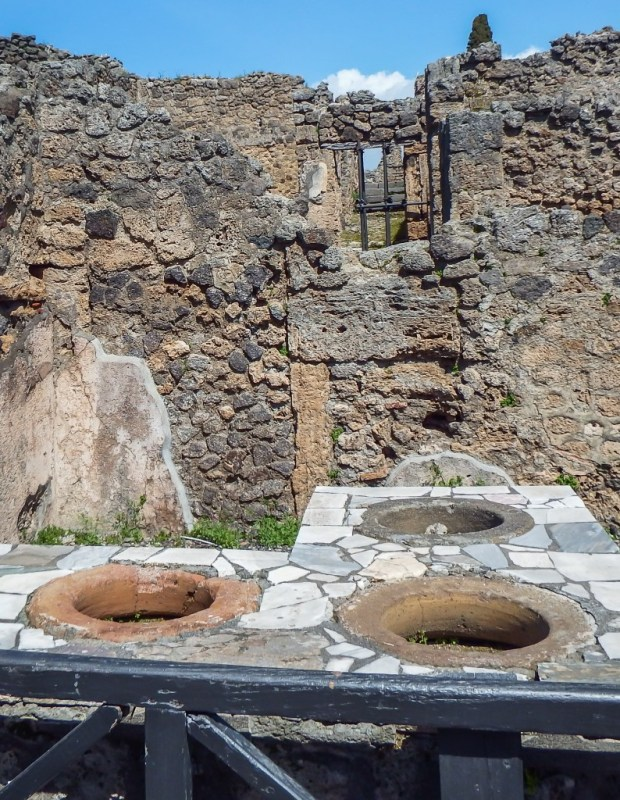 The ruins of a fast food restaurant in Pompeii in southern Italy