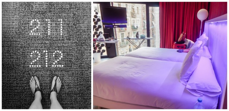 The room and room numbers of the Barcelo Raval hotel in Barcelona, Spain