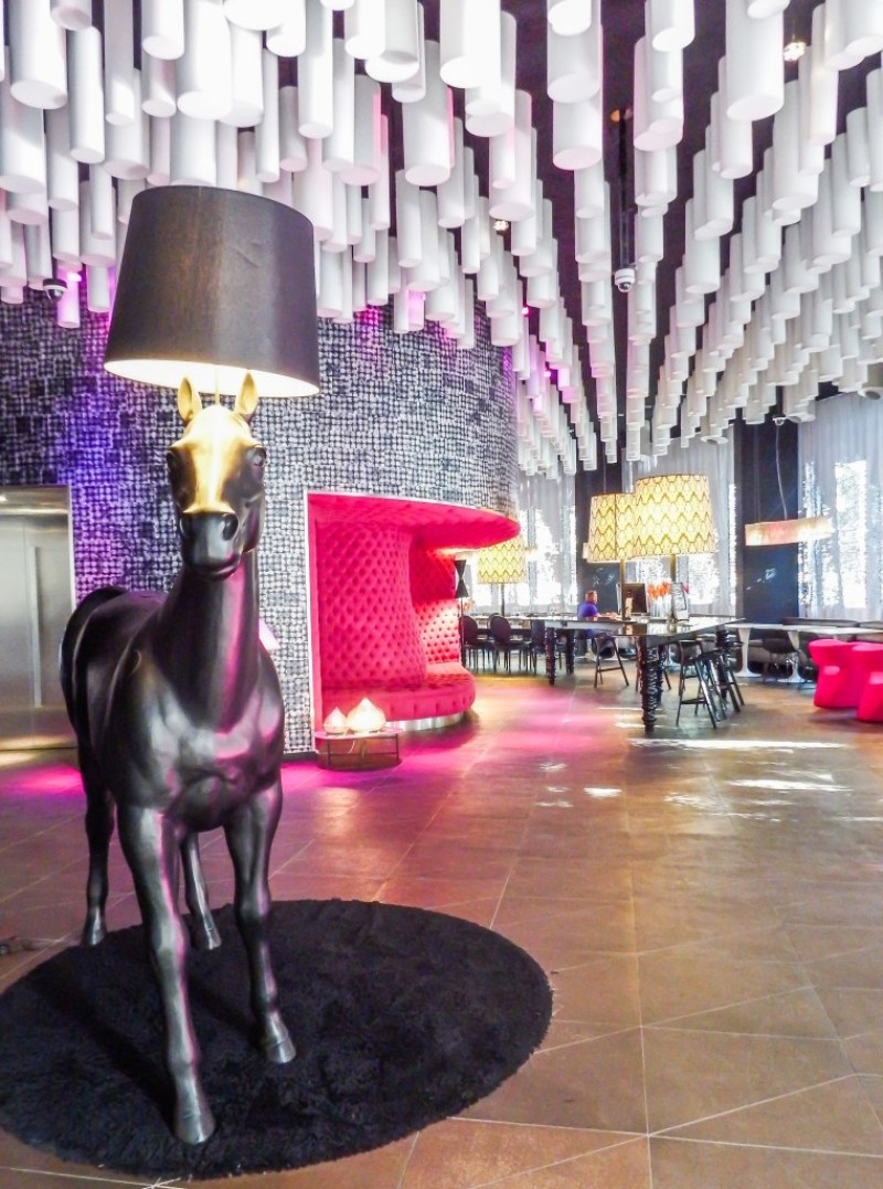 The horse lamp in the lobby of the Barcelo Raval hotel in Barcelona, Spain
