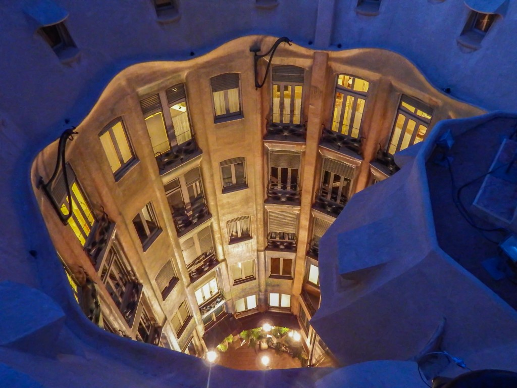 Looking down from the roof of Antoni Gaudí's Casa Mila (aka La Pedrera) in Barcelona, Spain
