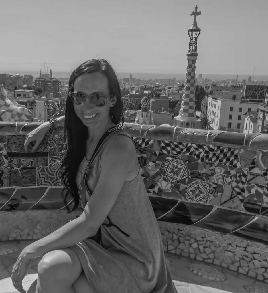 Enjoying a summer day in Antoni Gaudí's Park Güell in Barcelona, Spain