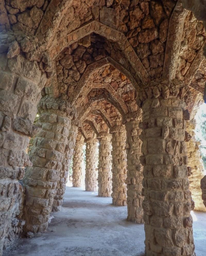 Stone structures of Antoni Gaudí's Park Güell in Barcelona, Spain