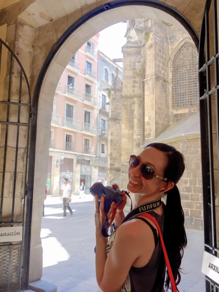 Exploring the gothic quarter in Barcelona, Spain