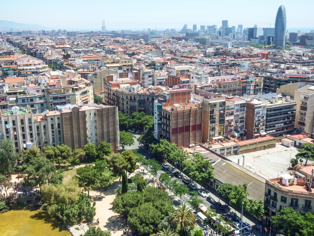 Barcelona from the Nativity Tower of Gaudí's Sagrada Familia