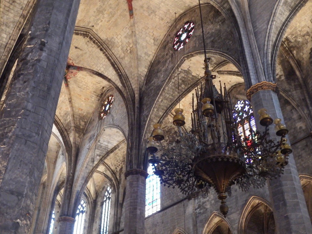The chandelier inside the church of Santa Maria del Mar in Barcelona, Spain