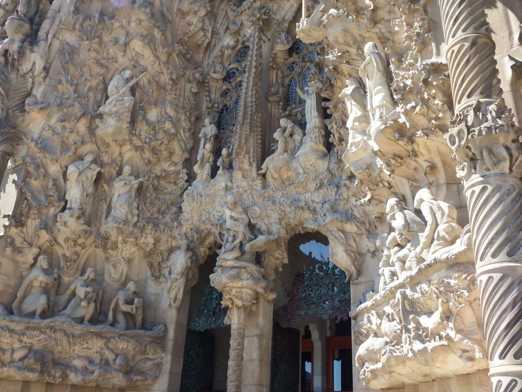 Antoni Gaudí's Nativity façade at Sagrada Familia in Barcelona, Spain