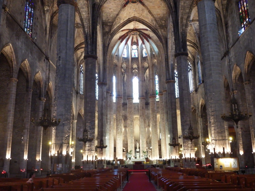 Inside the church of Santa Maria del Mar in Barcelona, Spain