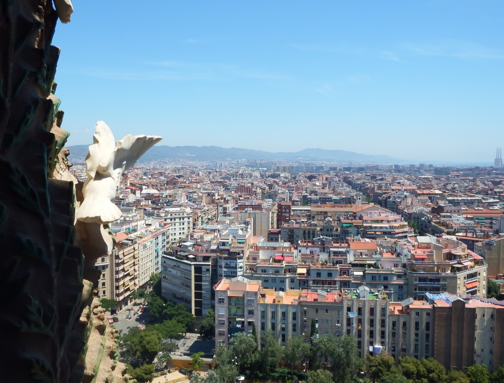 View from the Nativity Tower of Gaudí's Sagrada Familia in Barcelona, Spain