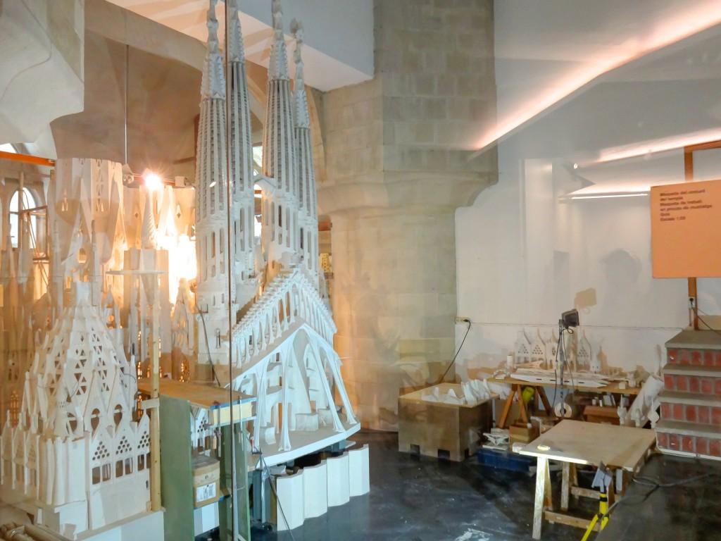 The workshop in the basement museum of Gaudí's Sagrada Familia in Barcelona, Spain