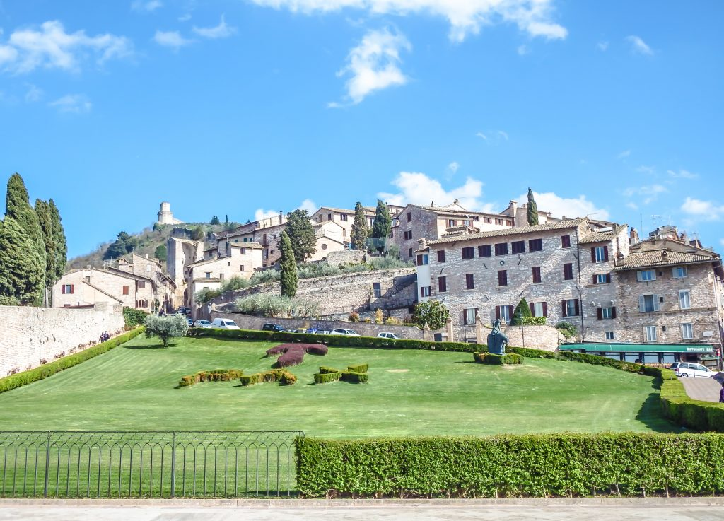 The lawn outside the Basilica of St. Francis seen during a day trip to Assisi, Italy