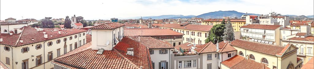 The panoramic view from our balcony at Hotel Aurora in Florence, Italy
