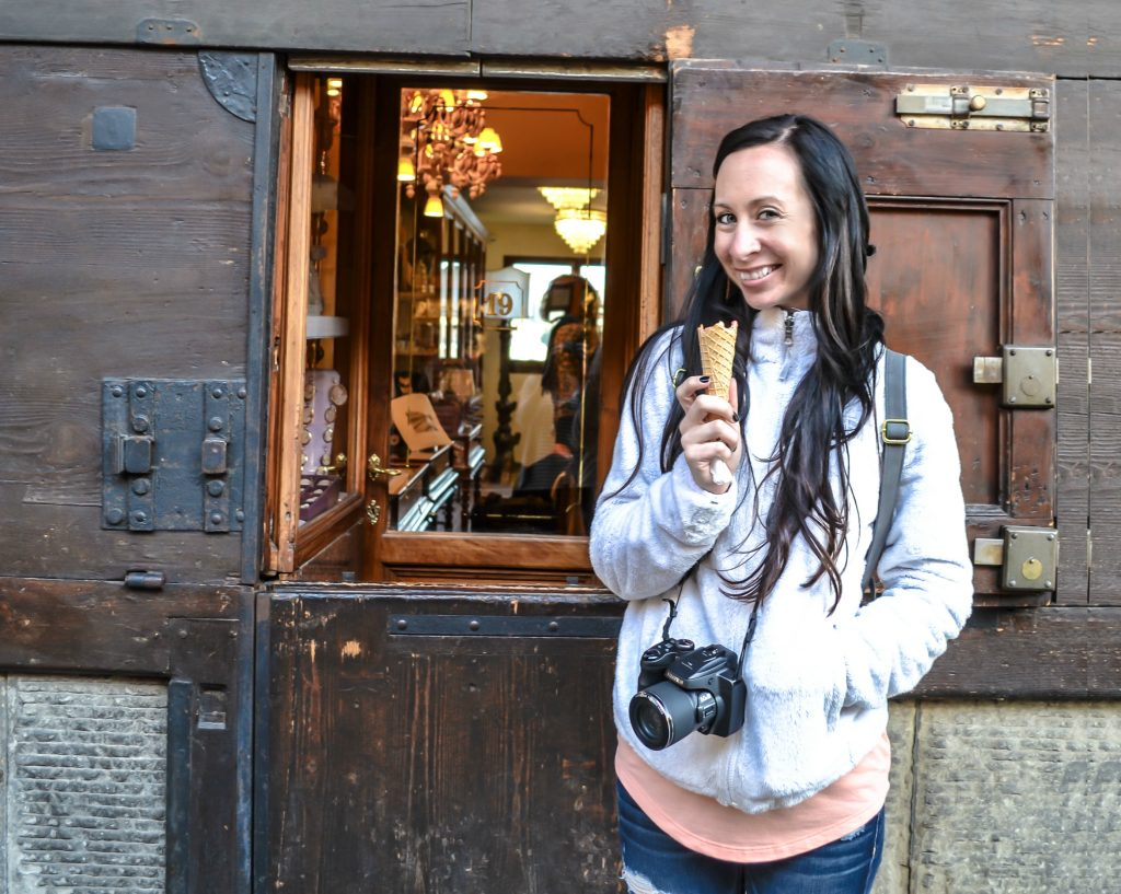 Enjoying some gelato on Ponte Vecchio during 2 days in Florence, Italy