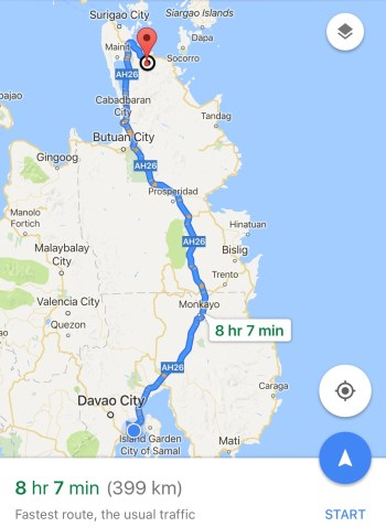 Davao to Surigao del Norte map