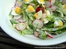Butterhead lettuce with eggs, yogurt and vinegar.