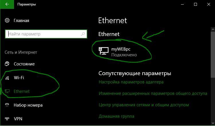 Ethernet подключение