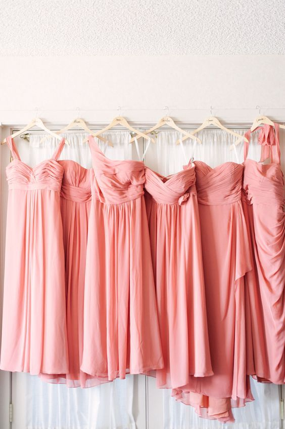 vestidos para damas de honor living coral pantone 2019