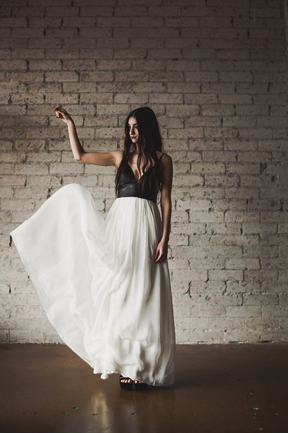 Vestido de novia con Cuero