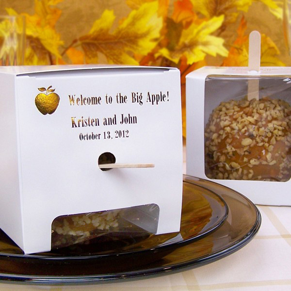 4 X 4 Custom Printed White Candy Apple Favor Boxes