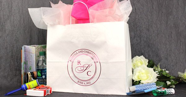 Chocolate Brown Gift Bags Printed With Ivory Matte Imprint Color 85 S Single Monogram