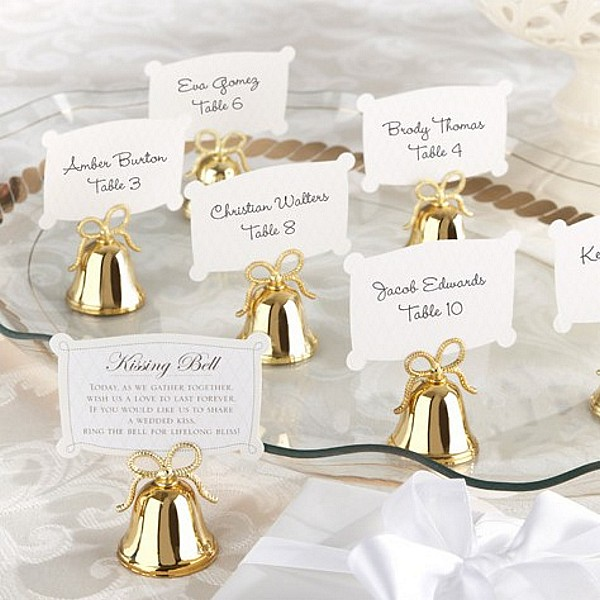 24 Pc Gold Wedding Kissing Bell Place Card Holder Set