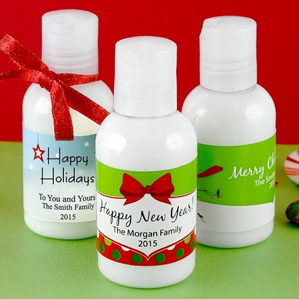 Personailzed Winter Holiday Hand Lotion Bottle Favors