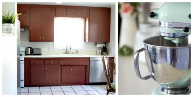 tuesday turn about 12 summer home tours kitchen with dark cupboards and bright walls with mixer on counter