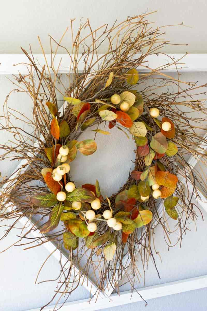 small home fall tour white window pane with wreath and lanterns