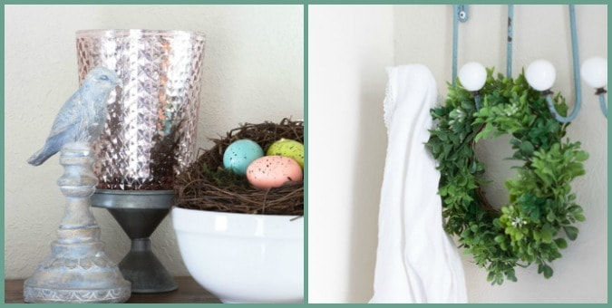 tuesday turn about 38 turning green nest with pastel eggs and bird with coat hanger and wreath