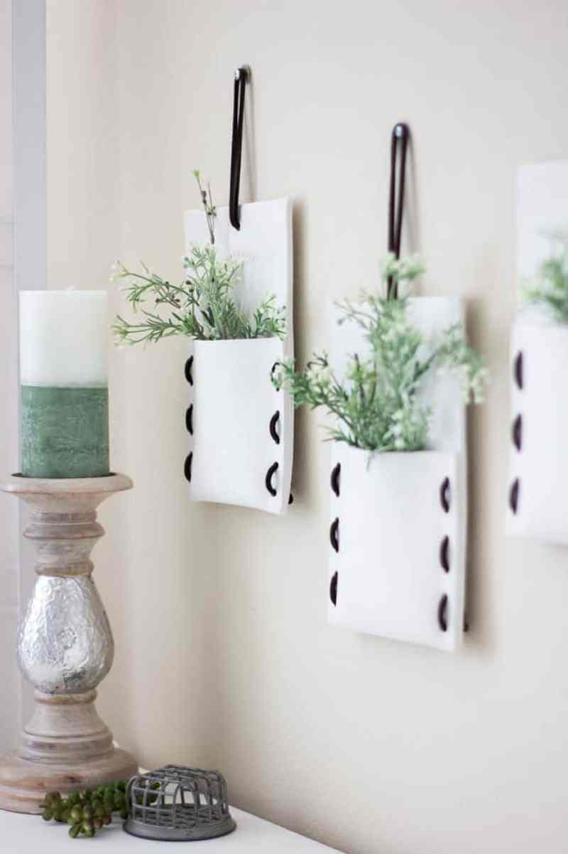easy magnolia market pocket makeover pockets with greenery and candle on dresser