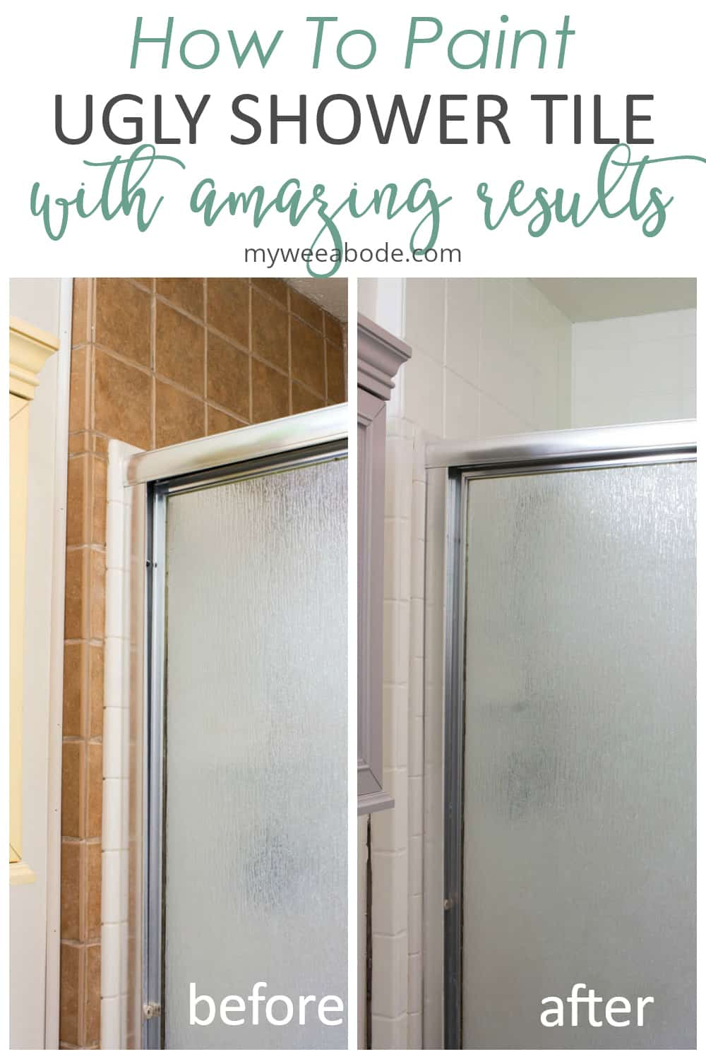 how to paint ugly shower tile with