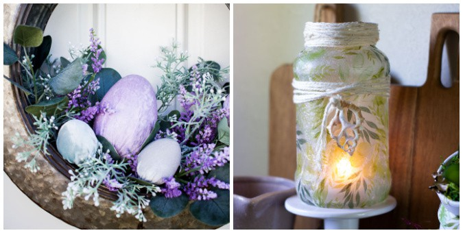 tuesday turn about 89 more spring velvet eggs in metal tire wreath and spring luminary
