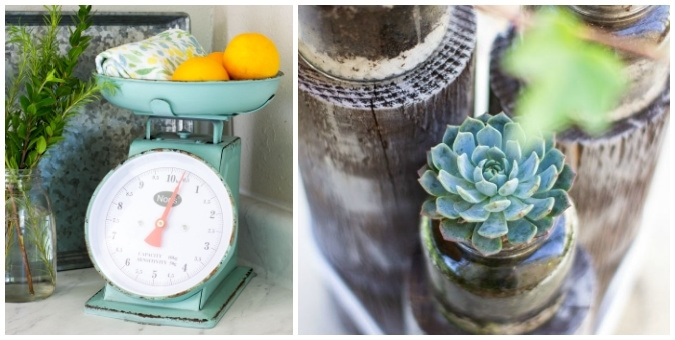 tuesday turn about just for kids collage of scale with lemons and greenery and photo with succulents in jars