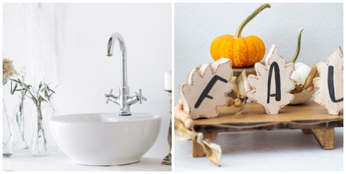tuesday turn about 112 collage with sink and faucent and wood leaf garland with pumpkin in background
