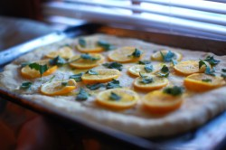 Topping the focaccia